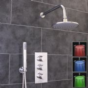 Thermostatic 2 Way Shower Valve | 3 Round Handles with Round LED Overhead Shower Drencher & Handset | EcoSpa®